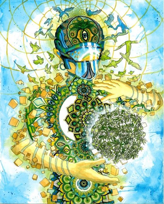 Watercolour and Ink Designed to represent CBD Virtuoso - A UK based Cannabis Oil Company.