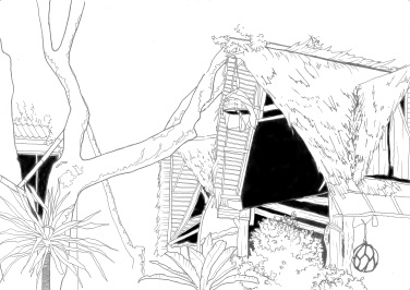 Pen sketch drawn from a beach in Thailand - A4 2016